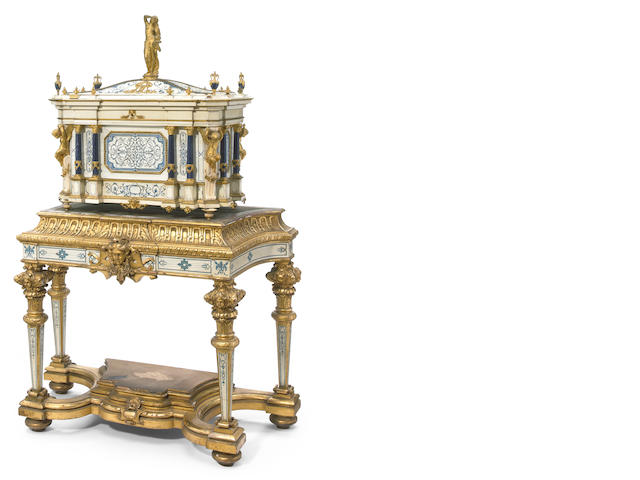 An impressive exhibition quality gilt bronze and lapis mounted natural and stained ivory serre bijoux on giltwood, natural and stained ivory stand <BR />second half 19th century