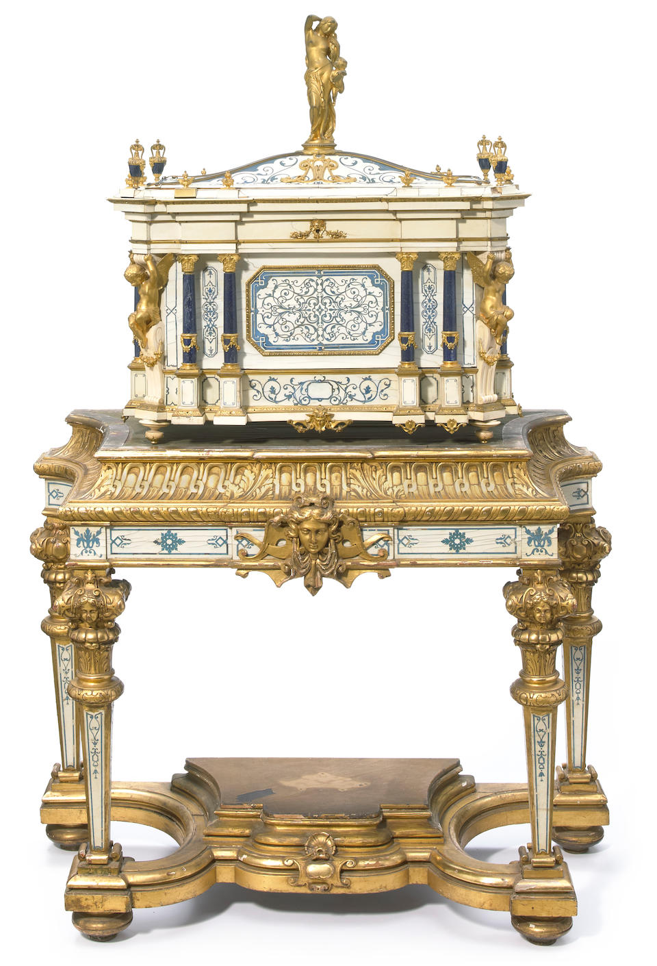 An impressive exhibition quality gilt bronze and lapis mounted natural and stained ivory serre bijoux on associated giltwood, natural and stained ivory stand  second half 19th century