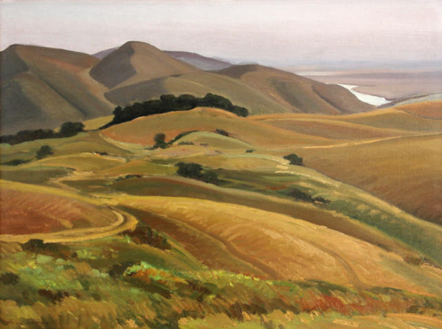 Ray Strong (American, 1905-2006) Grey day on the Moorlands, Marin county 18 x 24in