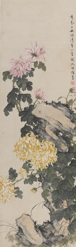 Shen Zhongqiang(1893-1973) Two hanging scrolls of chrysanthemums and birds, ink and color on paper