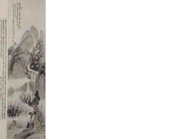 After Shitao (19th c.) Landscape, hanging scroll, ink and color on paper