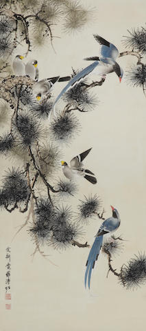 Pu Zuo (1918-2001 or 2003) Pine and Birds, haning scroll, ink and color on paper
