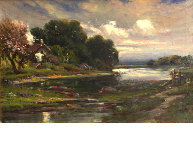 Manuel Valencia, Cottage by a river, o/c