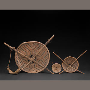 Three Pima burden baskets