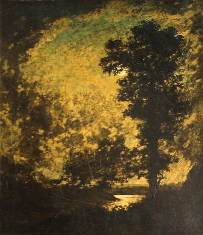 Manner of Ralph Albert Blakelock Moonlit landscape 27 1/4 x 22 1/4in
