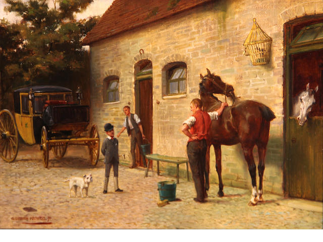 George Goodwin Kilburne, RI, RBA (British, 1839-1924) In the stable yard