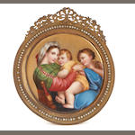 A Berlin style porcelain plaque in gilt bronze frame