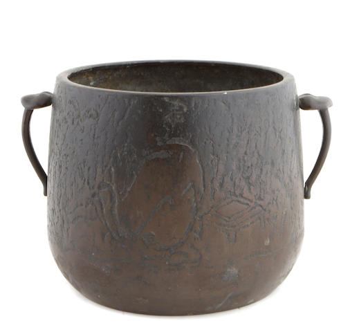 A Chinese bronze doubled handled pot