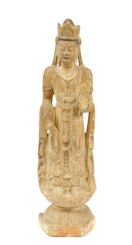 A large Chinese stone figure of Guanyin