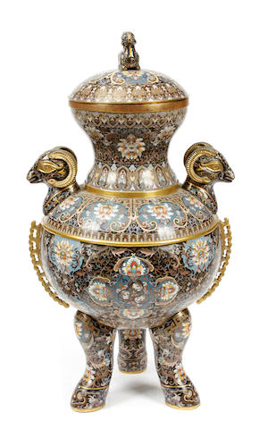 A large Chinese cloisonné censer