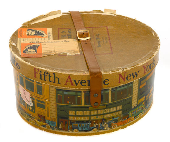 A Dobbs & Co. Hat box with motoring scene, c. 50s