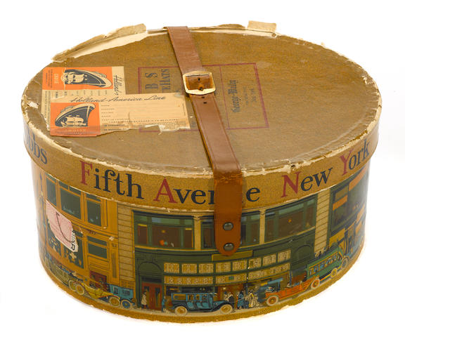 A Dobbs & Co. Hat box with motoring scean, c. 50s
