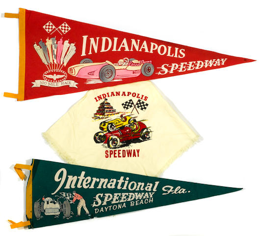 An Indianapolis 500 Speedway pennant and scarf, c.60s