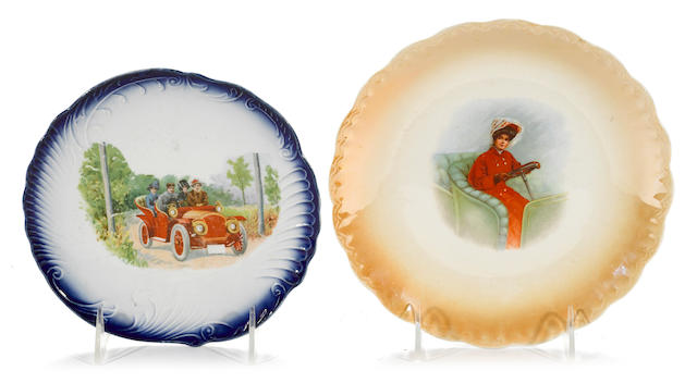 A lot of 2 decorative motoring scean plates, c. 1910,