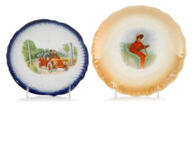 A lot of 2 decorative motoring scene plates, c. 1910,