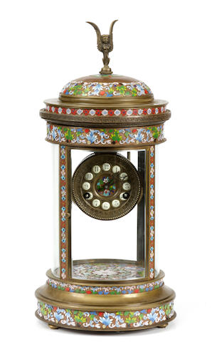 A Neoclassical style cloisonné, bronze and glass clock