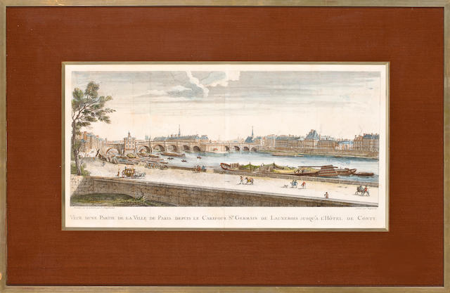 Ten French colored engravings