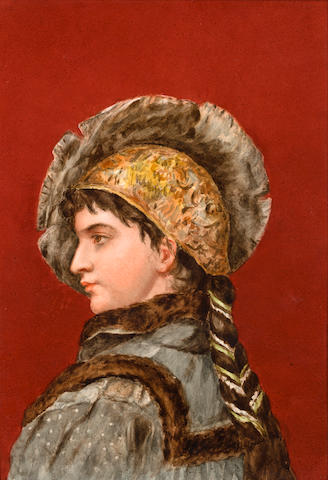 A KPM painted porcelain plaque depicting a man in Renaissance dress on a red background