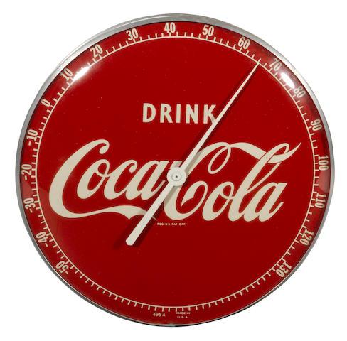 A Coca-Cola thermometer, c.50s,