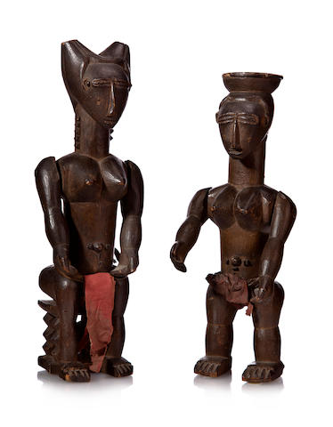 Pair of Lagoons Area Female Figures, Ivory Coast