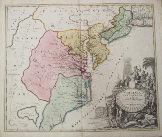 HOMANN, JOHANN BAPTIST. 1663-1724. Virginia, Marylandia et Carolina in America Septentrionali. Nuremberg: J.B.Homann, [c.1720].