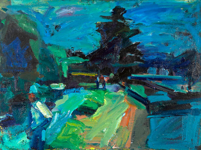 Terry St. John (American, born 1934) Figure in Blue, Berkeley Marina, 1995 30 x 40in (76.2 x 101.6cm)