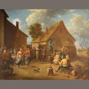 Manner of David Teniers Merry-making outside an inn 28 x 35 1/4in