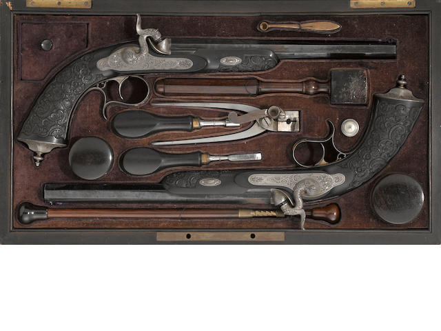 A fine cased pair of French percussion salon pistols by Henry Rieger/Lefauchaux
