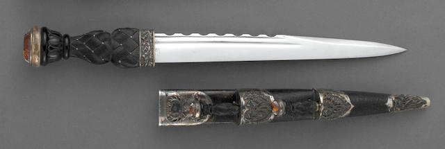 A sterling silver-mounted Scottish regimental dirk for the Gordon Highlanders by Hamilton & Inches