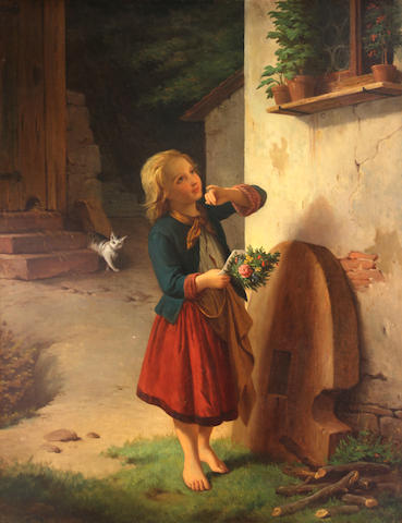 German School, 19th Century A sweet surprise; Daydreaming (a pair) 34 1/2 x 26 1/2in