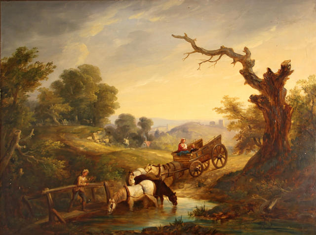 English School An extensive landscape with a wagon and figures at the edge of a stream with horses watering 28 x 36in