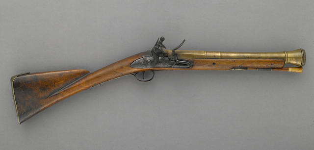 A brass-barreled English flintlock blunderbuss by James Barbar