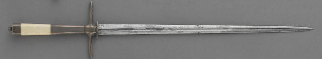A silver and ivory-mounted British naval officer's dirk