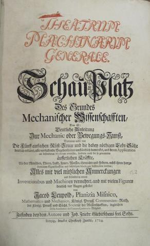 LEUPOLD, JACOB. 1674–1727. Theatrum machinarum generale [-hydraulicarum], Shau-Platz des Grundes mechanischer Wissenschafften. Leipzig: Christoph Zunkel, 1724-5.