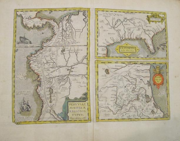 ORTELIUS, ABRAHAM. 1527-1598. La Florida; Peruviae auriferae regionis typus; Guastecan. [Antwerp: 1608 or later.]