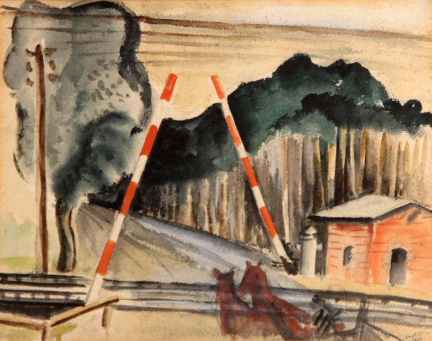Werner Drewes (American, 1899-1985) Horses at a railroad crossing; Country homes, 1935 (2) first sight: 9 3/4 x 12 1/4in; second sight: 11 1/4 x 17in