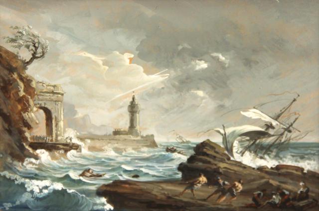gouache style of de Loutherberg, Stormy Mediterranean scene