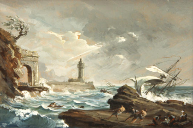 Manner of Philipp Jakob (II) Loutherbourg A shipwreck on a rocky coast with a lighthouse in the distance 5 3/4 x 7 3/4in