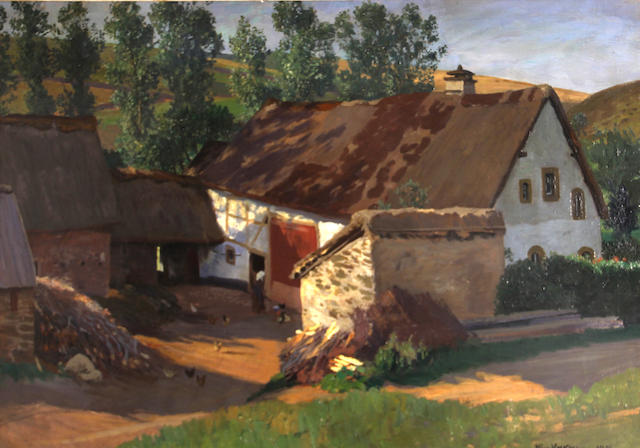 Hans Richard von Volkmann (German, 1860-1927) Farmhouse in the Eifel, Germany 24 1/2 x 36in