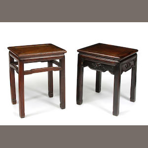 A group of two Chinese hardwood low occasional tables