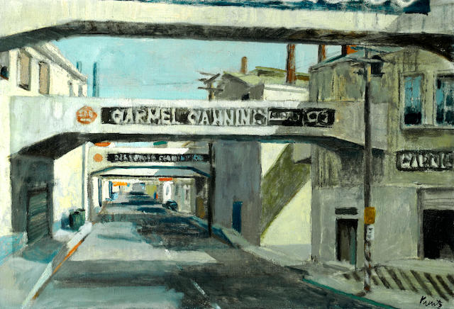 Roger Edward Kuntz (1926-1975) Monterey Cannery 30 x 44 1/4in (76.2 x 112.4cm)