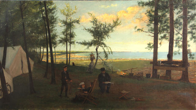 Franklin C. Courter (American) Campsite by a lake, 1893 18 x 32in