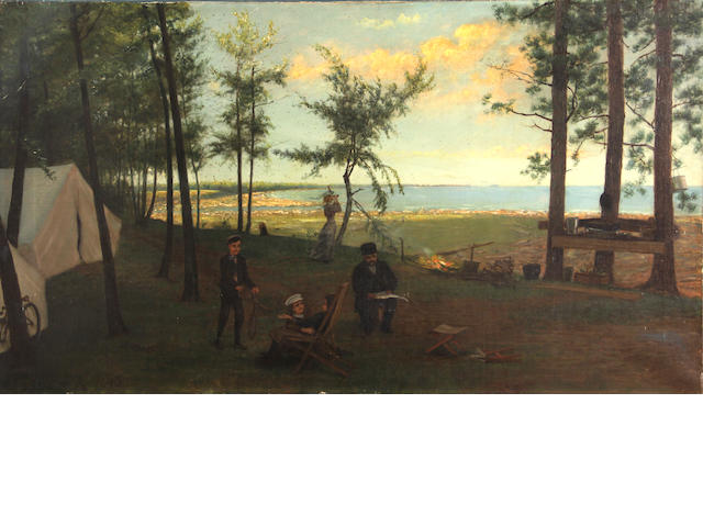 Franklin C. Courter, Campsite by a lake, o/c