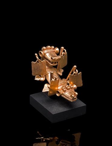Rare Veraguas Gold Effigy Pendant,<BR />ca. A.D. 1000 - 1400