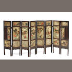A Chinese hardstone mounted eight panel screen