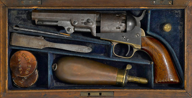 A cased London Colt Model 1849 percussion pocket revolver