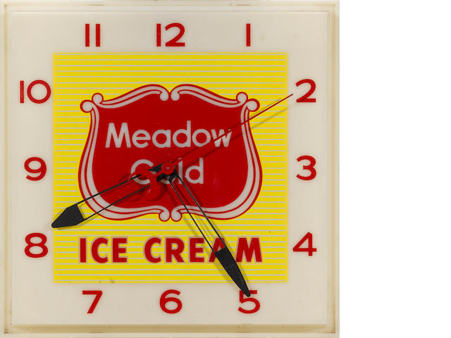 A illuminated Medow Gold Ice Cream Clock,