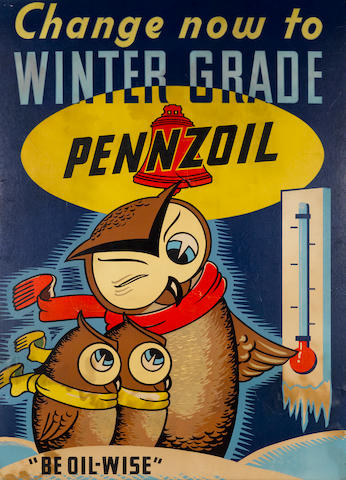 "A Pennzoil ""Be Oil Wise"" advertisng sign, c.50s,"
