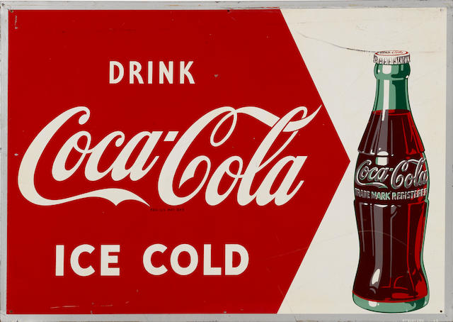 "A Coca-Cola ""Drink Ice Cold"" sign, 1949,"