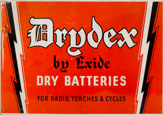 A Drydex by Exide batterys sign,